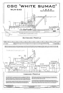 free, ship, plan, coast, guard, cutter, white, sumac, lines, drawing