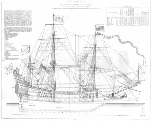 free, ship, plan, Couronne, French, warship, ship-of-the-line, 17th Century, crown