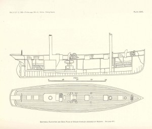 Deck and inboard profile view of 19th Century Great Lakes steam-powered fishing trawler designed by W.E. Redway