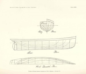 Body, Sheer, and waterline plans of 19th Century Great Lakes steam-powered fishing trawler designed by W.E. Redway