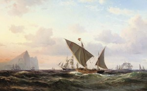 xebec, lateen, ship, sail, gibralter, Vilhelm, Melbye