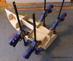gluing boat deck, Chesapeake Bay Flattie, Midwest Products, model ship building