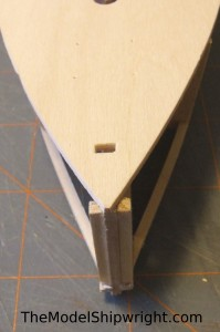 model ship, kit, plank-on-bulkhead, midwest products, chesapeake bay flattie, planking the hull, trimming bow stiffeners