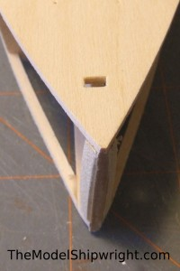 model ship, kit, plank-on-bulkhead, midwest products, chesapeake bay flattie, planking the hull, sanding the Bow stiffeners