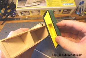 model ship, kit, plank-on-bulkhead, midwest products, chesapeake bay flattie, planking the hull, fairing bulkhead edge