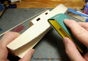 model ship, kit, plank-on-bulkhead, midwest products, chesapeake bay flattie, planking the hull, sanding bottom plank