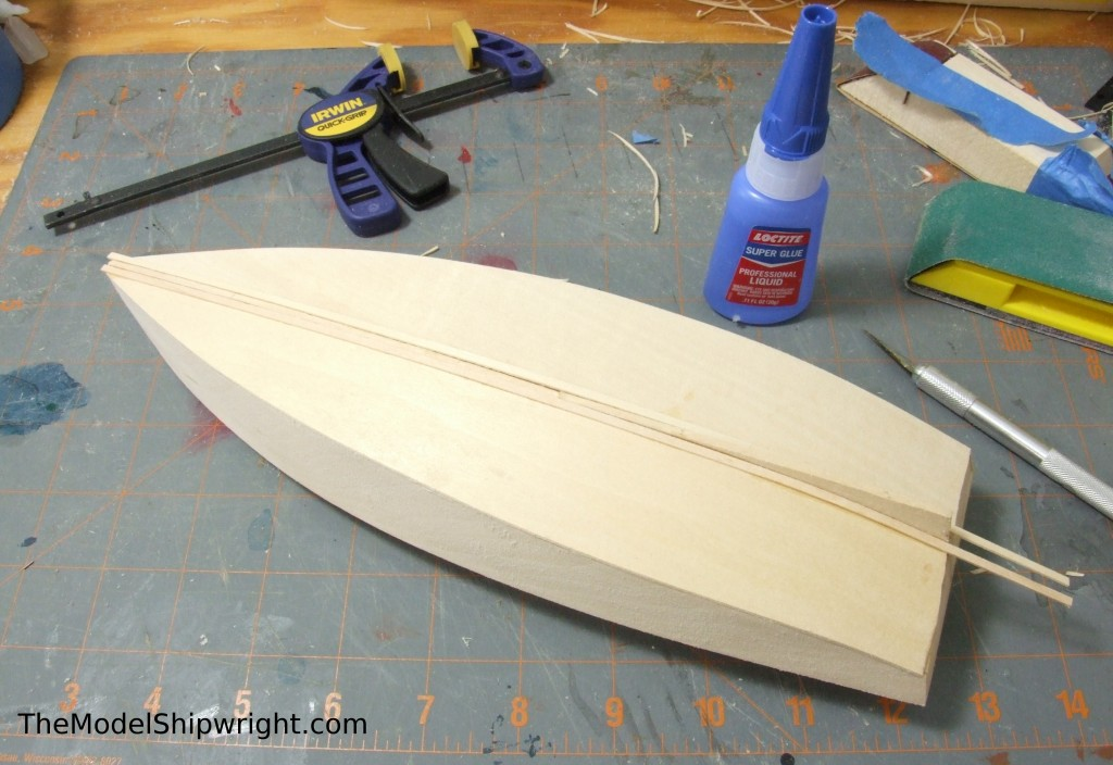 model ship, kit, plank-on-bulkhead, midwest products, chesapeake bay flattie, planking the hull, chafing planks