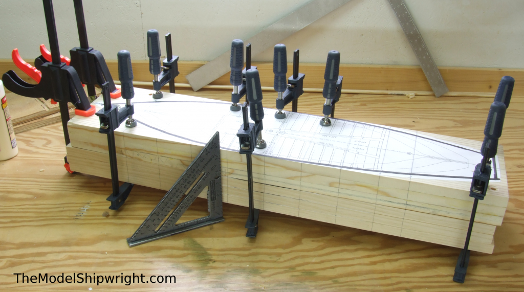 Aligning lifts, Ship model, Arab, Sambouk, dhow, scratch-building, solid hull, bread-and-butter, sawing, lifts, gluing, clamps