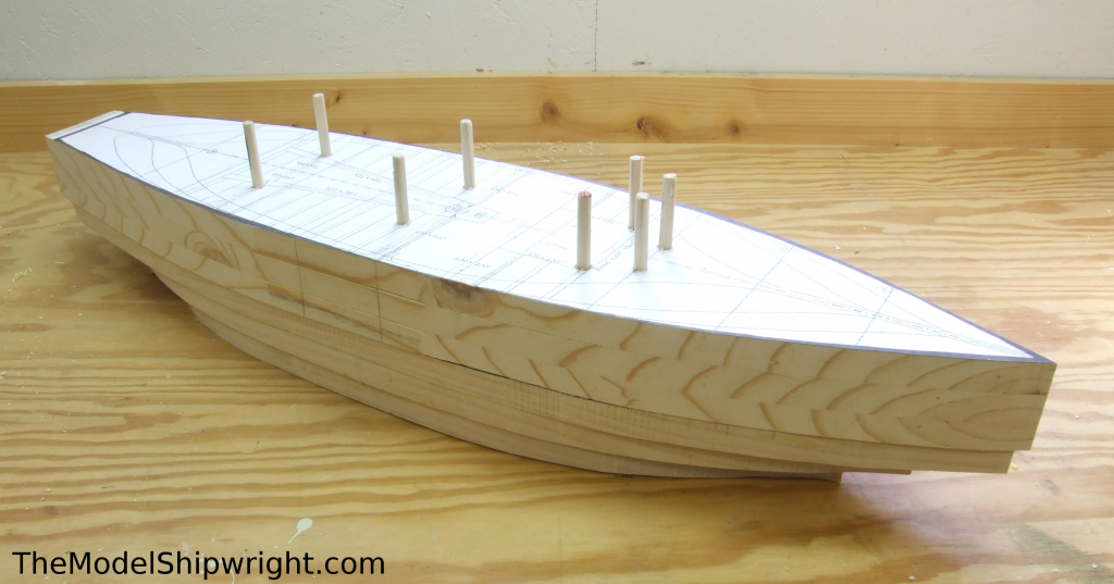 Rough shaped hull, Ship model, Arab, Sambouk, dhow, scratch-building, solid hull, bread-and-butter, sawing, lifts, gluing, clamps