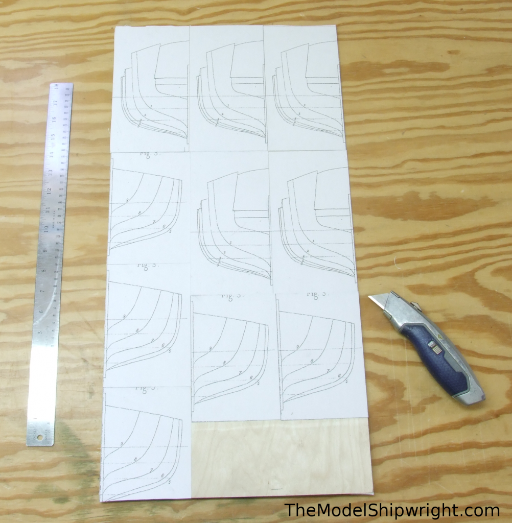 """template blanks on plywood, The final result, shown in Figure 31, shows all the section plans glued down to the 12"""" x 24"""" piece of plywood. I placed them so the center-lines were against the edge of the plywood where I could, and aligned the other center-lines where I couldn't use the edge of the plywood sheet. This made it much easier to cut the pieces apart with a heavy utilty knife, which could do the job in two passes."""