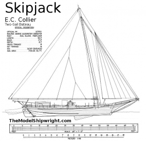 sail plan, free ship plan, scratch-building, ship model, plank-on-bulkhead, method, Skipjack, E.C. Collier, Chesapeake Bay, Oyster dredge