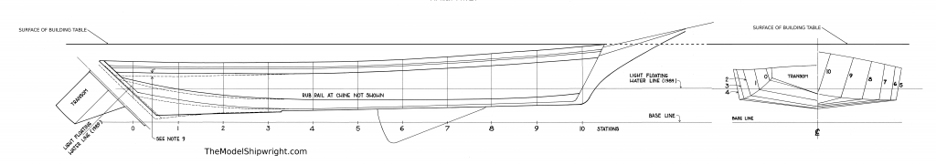 lines plan, baseline, scratch-building, ship model, plank-on-bulkhead, method, Skipjack, E.C. Collier, Chesapeake Bay, Oyster dredge