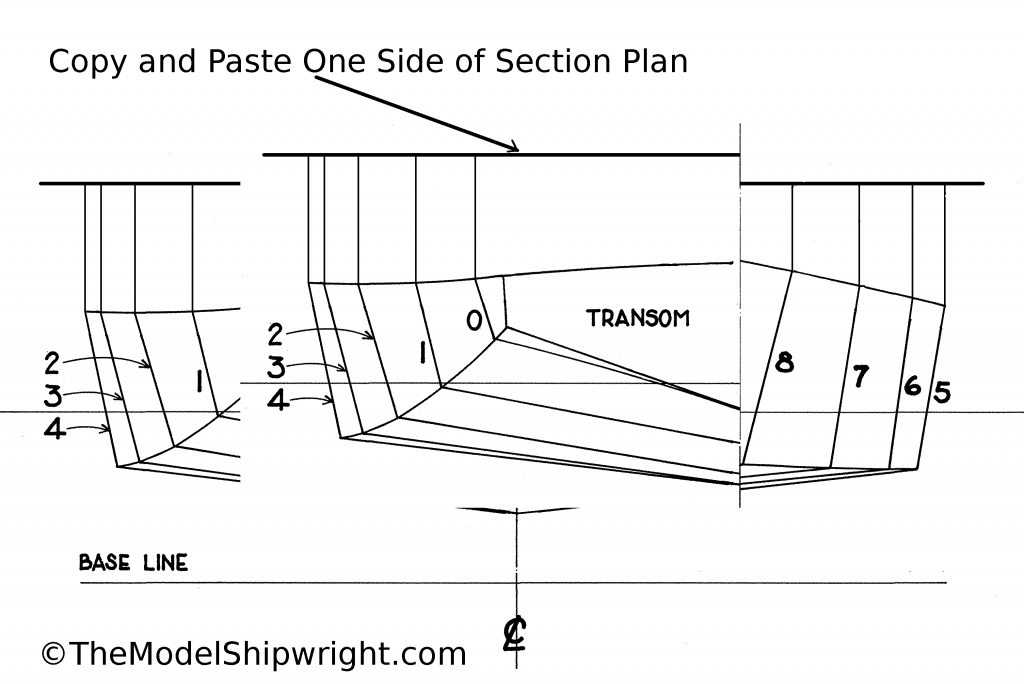 duplicate, section plan, scratch-building, ship model, plank-on-bulkhead, method, Skipjack, E.C. Collier, Chesapeake Bay, Oyster dredge