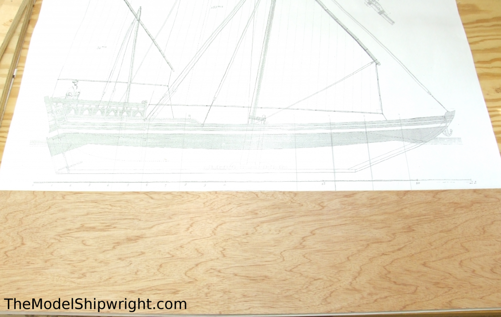 Ship model, Arab, Sambouk, dhow, scratch-building, solid hull, bread-and-butter, section, template, stem, sternpost, drilling, reference, marks