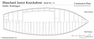 Frame plan, Free ship plans, sailboat, day-sailing, Blanchard, Junior Knockabout, steam-bent, frame, depression-era