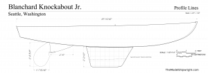 Outboard profile plan, Free ship plans, sailboat, day-sailing, Blanchard, Junior Knockabout, steam-bent, frame, depression-era