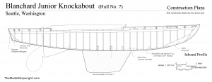 Inboard Profile plan, Free ship plans, sailboat, day-sailing, Blanchard, Junior Knockabout, steam-bent, frame, depression-era