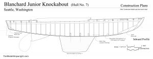 Inboard Profile plan, Free ship plans, sailboat, day-sailing, Blanchard, Junior Knockabout, steam-bent, frame, depression-era