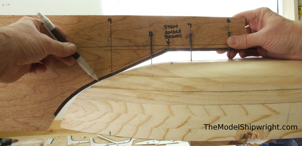 Ship model, Arab, Sambouk, dhow, scratch-building, solid hull, bread-and-butter, stem, contour, marking, template