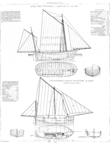 Plate 180 Souvenirs de Marine Troisième partie by François-Edmond Pâris ship plans of boats from the coast of France